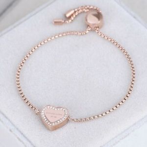 Michael Kors Rose Gold Heart Crystal Bracelet
